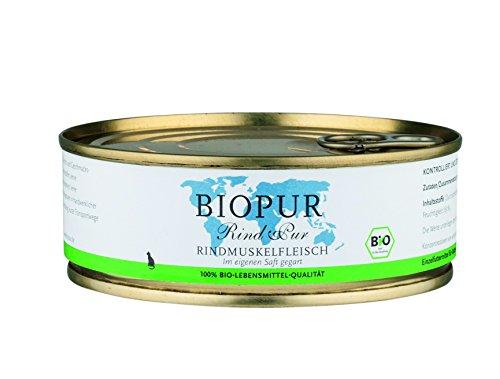 Biopur Rindmuskelfleisch Bio Ergänzungsfutter für Katzen, 12er Pack (12 x 200 g)