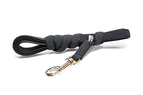 JULIUS-K9, 216GM-S3 Color & Gray gumierte Leine, 20 mm x 3 m mit Schlaufe, maximal für 50 kg Hunde, schwarz-grau