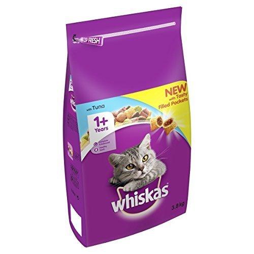 Whiskas Katzenfutter Trockenfutter Adult für Katzen ab 1 Jahr mit Thunfisch, 3er Pack (3 x 3,8 kg)