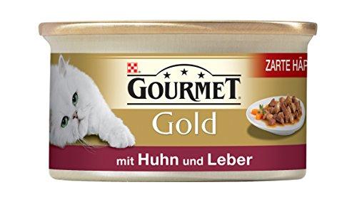 Gourmet Gold Katzenfutter Zarte Häppchen in Sauce mit Huhn und Leber, 12er Pack (12 x 85 g) Dosen