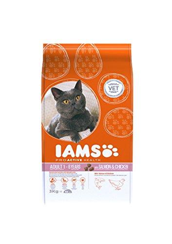 Iams Adult Trockenfutter mit viel Lachs (für erwachsene Katzen, enthält viel hochwertiges tierisches Protein), 3 kg Beutel