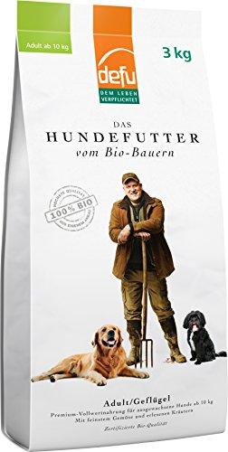 Bestes Bio Hundefutter | Trockenfutter Adult Geflügel von defu | für große Hunde
