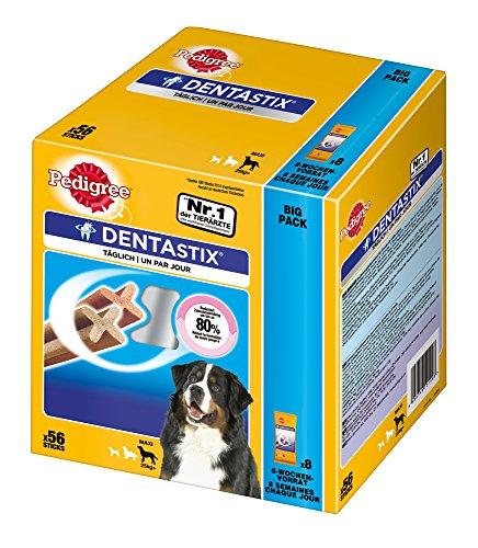 Pedigree DentaStix Hundeleckerli für große Hunde / Kausnack mit Huhn- und Rindgeschmack gegen Zahnsteinbildung für gesunde Zähne / 1×56 Stück