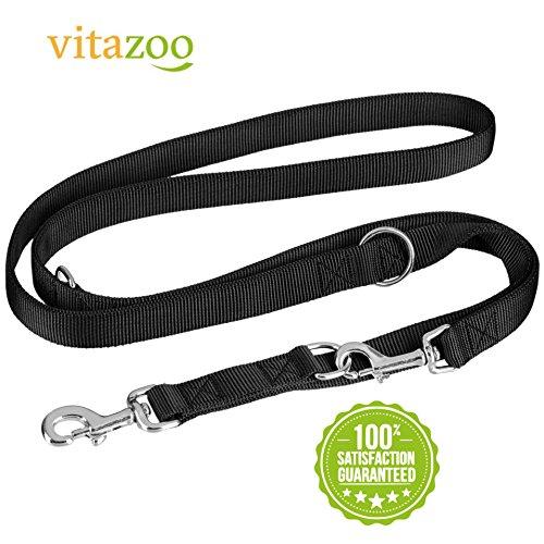 VITAZOO Premium Hundeleine in Graphitschwarz, massiv und verstellbar in 4 Längen (1,1 m – 2,1 m), für große und kräftige Hunde   2 Jahre Zufriedenheitsgarantie   Hundeführleine, Doppelleine, geflochten