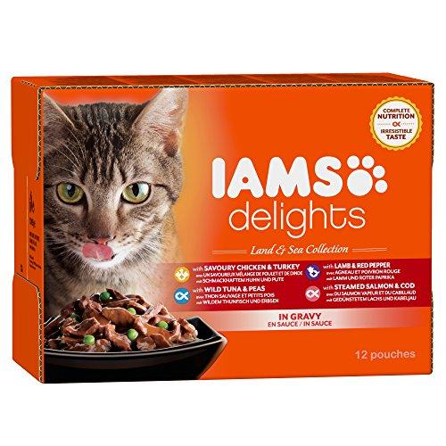 Iams Delights Land and Sea Collection Nassfutter (für erwachsene Katzen mit verschiedenen Fleisch- und Fisch-Sorten in Sauce, Multibox) 12 Frischebeutel (12 x 85 g)