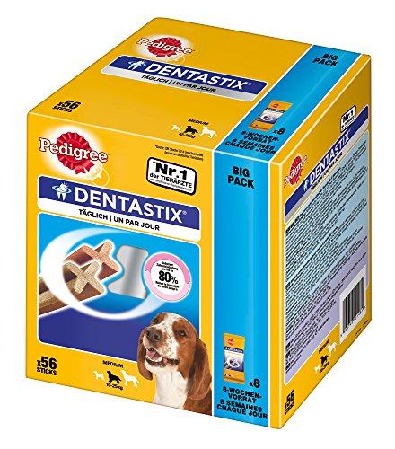 Pedigree DentaStix Hundeleckerli für mittelgroße Hunde / Kausnack mit Huhn- und Rindgeschmack gegen Zahnsteinbildung für gesunde Zähne / 1×56 Stück