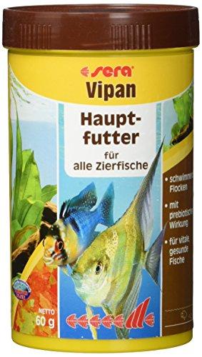 sera 00150 vipan 250 ml – der Klassiker – Hauptfutter für alle Zierfische in Gesellschaftsaquarien, Flockenfutter, für schönere und größere Fische