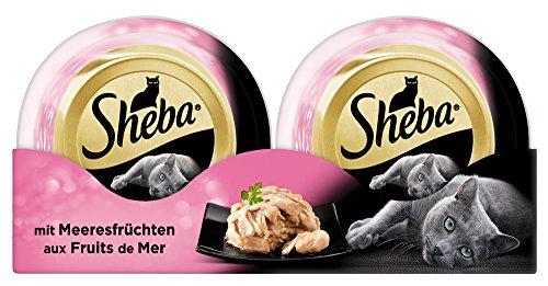 Sheba Katzenfutter Feine Filets für ausgewachsene Katzen – getreidefreies Nassfutter für Katzen / saftige Filets mit Meeresfrüchten / 24 Schalen (24 x 80 g)