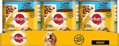Pedigree Adult Hundefutter Lamm, Gemüse und Nudeln – Saftiges Geschnetzeltes, 12 Dosen (12 x 800 g)