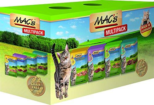 MAC'S Nassfutter Pouchpack MULTIPACK nur Fleisch 12x 100g für Katzen getreidefrei