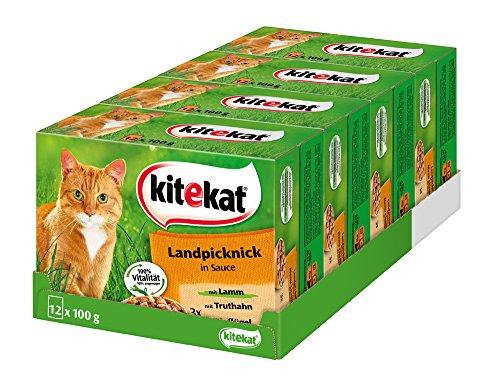 Kitekat Katzenfutter Landpicknick in Soße, 48 Beutel (4 x 12 x 100 g)