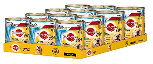 Pedigree Adult Plus Hundefutter Fischöl – Rind in Gelee, 12 Dosen (12 x 800 g)