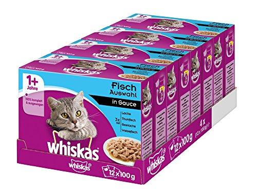 Whiskas Katzenfutter 1+ für erwachsene Katzen – saftige Fisch-Auswahl in Sauce / 48 Portionsbeutel (4 x 12 x 100 g)