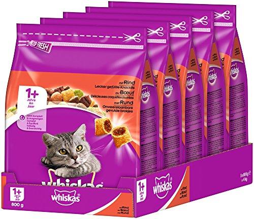 Whiskas Katzenfutter Trockenfutter Adult für Katzen ab 1 Jahre mit Rind (5 x 800g)
