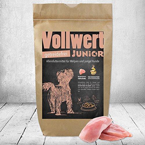 DOGREFORM VOLLWERT Junior Trockenfutter 1,5 kg getreidefrei Auf fragwürdige Zutaten wie Soja Schweinefleisch säuerndes Obst, und billige oft unverdauliche Füllstoffe wird konsequent verzichtet