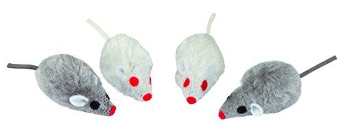 Kerbl 84255 Maus, 4er- Beutel, 5 cm, grau / weiß