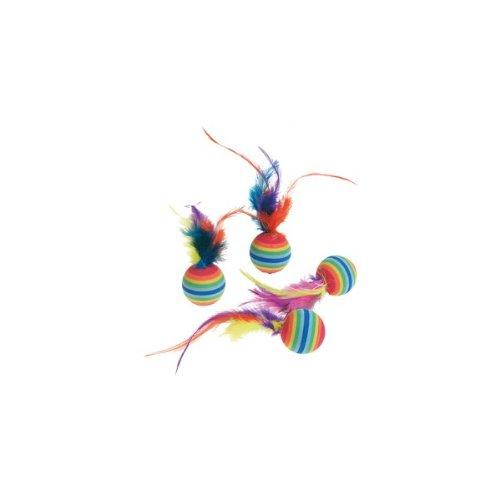 Katzenspielzeug: 4 Rainbowbälle mit Feder Ø 3cm #502203