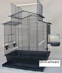 Vogelkäfig IZA III Cabrio Wellensittichkäfig,Exotenkäfig,Vogelkäfig Vogelbauer Wellensittich Kanarien Voliere Vogelhaus Käfig in schwarz mit schwarzer Schale incl. Badehaus und Trinkröhrchen