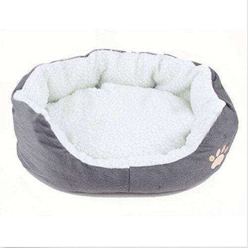 Tianhong Hunde- oder Katzenbettchen, rund oder oval, aus Fleece, kleine Größe S Ash