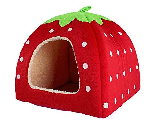 Schöne Strawberry weicher Kaschmir Warm Pet Nest Hund, Katze, Bett klappbar Red