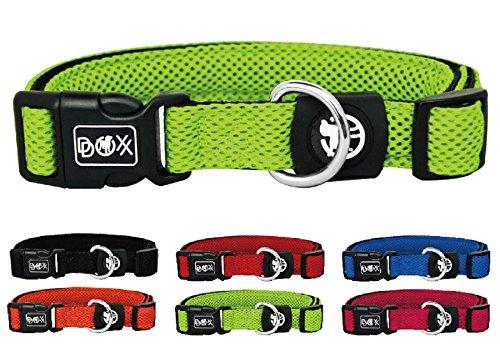 Hundehalsband Halsung aus Air-Mesh verschiedene Farben und Größen XS, S, M, L, XL: verstellbar, leicht, atmungsaktive, gepolstert, luftdurchlässig, soft, weich, stark, stabil, farbig, für große und kleine Hunde, by DDOXX (Leine und Geschirr separat erhältlich) (Grün, XS – 1,5 x 21-30 cm)