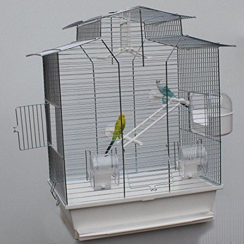 Vogelkäfig,Wellensittichkäfig,Exotenkäfig,60 cm Vogelkäfig Vogelbauer Wellensittich Kanarien Voliere Vogelhaus Käfig IZA 2 II weiß