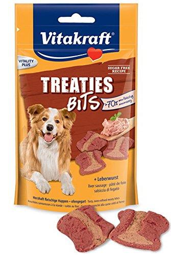 Vitakraft Hundesnack, Fleischige Happen mit Leberwurst, Ofengegart, Treaties Bits, 28807, 120 g