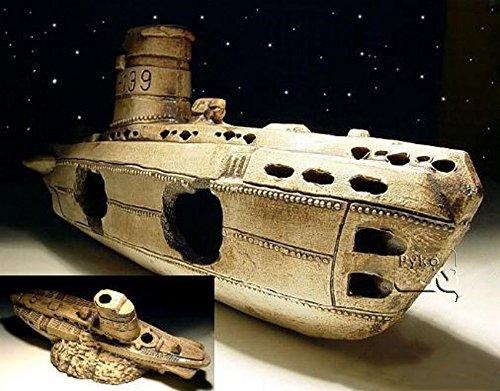 Aquarium Dekoration Keramik U-Boot Höhle Wrack Fische Submarine Terrarium Neu