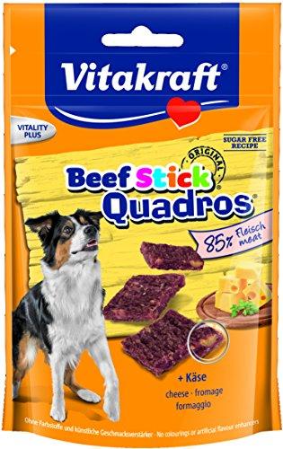 Vitakraft Hundesnack, Fleisch-Happen mit Käse-Stückchen, Beef Stick Quadros, 28801, 70 g