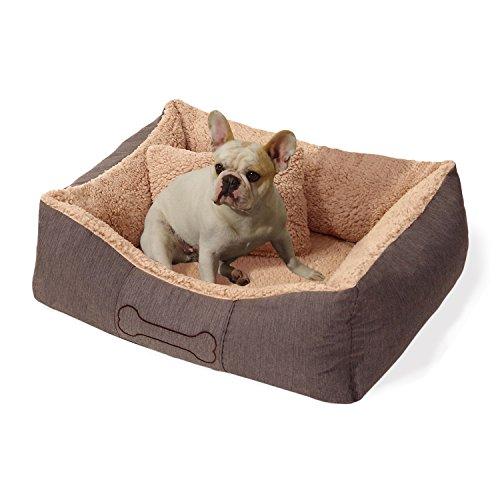 """Homeoutfit24 """"Lucky"""" kleiner Hundekorb waschbar, hygienisch und rutschfest, Hundebett mit Kissen und kuscheligem Plüsch in Braun, Größe S"""