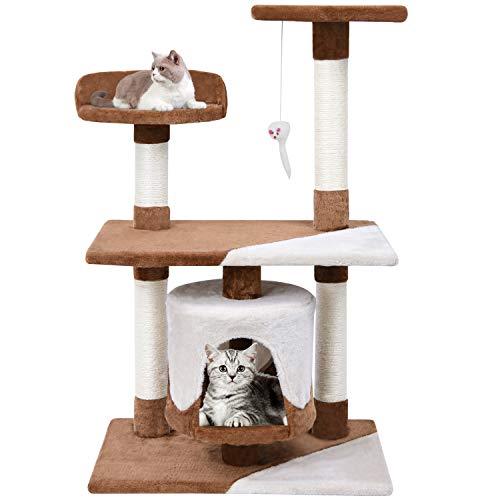 MC Star Zweifarbig Kratzbaum Katzenkratzbaum 95cm hoch Stabil für Erwachsene Katzen mit Sisal-Kratzstangen Multi-Plattform und Höhle, Braun und Beige