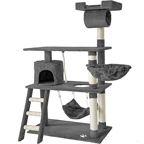 TecTake 800294 Katzen Kratzbaum mit vielen Kuschel- und Spielmöglichkeiten, 141cm hoch, extra breit – Diverse Farben – (Grau | Nr. 401853)
