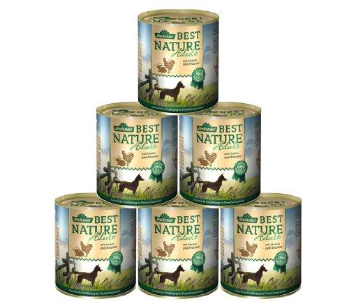 Dehner Best Nature Hundefutter Adult, Huhn und Kaninchen mit Nudeln, 6 x 800 g (4.8 kg)