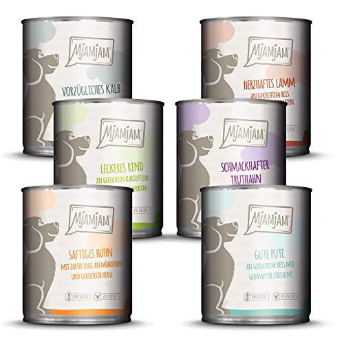 MjAMjAM – Premium Nassfutter für Hunde – Mixpaket II – mit Huhn & Ente, Rind, Pute, Kalb, Truthahn, Lamm, 6er Pack (6 x 800 g), getreidefrei mit extra viel Fleisch