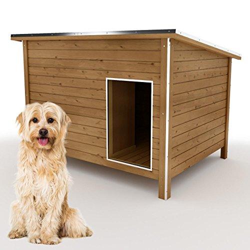 happypet® Hundehütte L oder XL – Hundehütte in L-Format, Echtholz-Hütte DK120-2 wetterfest, isoliert, mit Windfang, Outdoor Hundehaus für große Hunde, Platz für Hundebett, mit hohen Standbeine, aus Massivholz 120 x 90 x 90 cm