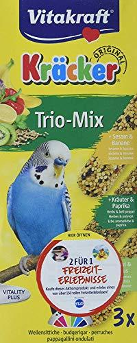 Vitakraft – 21237 – Kräcker Trio-Mix(Sesam-Banana/ Kräuter-Paprika/Kiwi-Zitrone) Sittiche 3er Pack