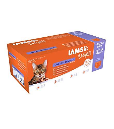 IAMS Delights Land & Sea Collection in Gelee – Ausgewogenes Nassfutter in verschiedenen Geschmackssorten für erwachsene Katzen ab 1 Jahr – 48 x 85g Frischebeutel