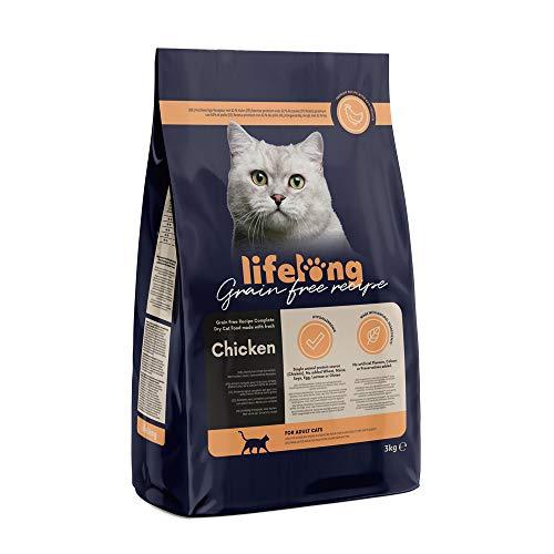 Amazon-Marke: Lifelong Alleinfuttermittel für ausgewachsene Katzen mit frischem Huhn Getreidefreie Rezeptur – 3kg