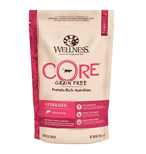 Wellness CORE Sterilised Getreidefreies Katzenfutter Trocken, Hoher Fleischanteil, Lachs und Thunfisch, 300 g