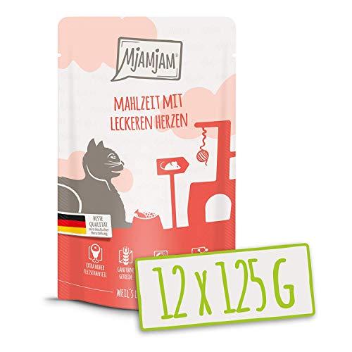 MjAMjAM – Premium Nassfutter für Katzen – Quetschie – Mahlzeit mit leckeren Herzen, 12er Pack (12 x 125 g), getreidefrei mit extra viel Fleisch