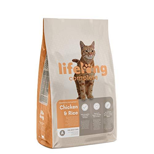 Amazon-Marke: Lifelong Complete Komplett-Trockenfutter für ausgewachsene Katzen, reich an Huhn und Reis, 1 x 3 kg