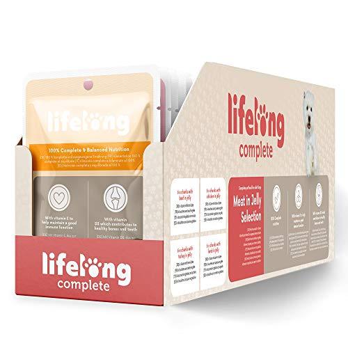 Amazon-Marke: Lifelong Alleinfuttermittel für ausgewachsene Hunde- Fleischauswahl in Gelee 2,4 kg (24 Beutel x 100g)