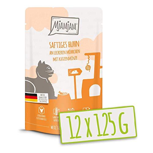 MjAMjAM – Premium Nassfutter für Katzen – Quetschie – saftiges Huhn an leckeren Möhrchen, 12er Pack (12 x 125 g), getreidefrei mit extra viel Fleisch