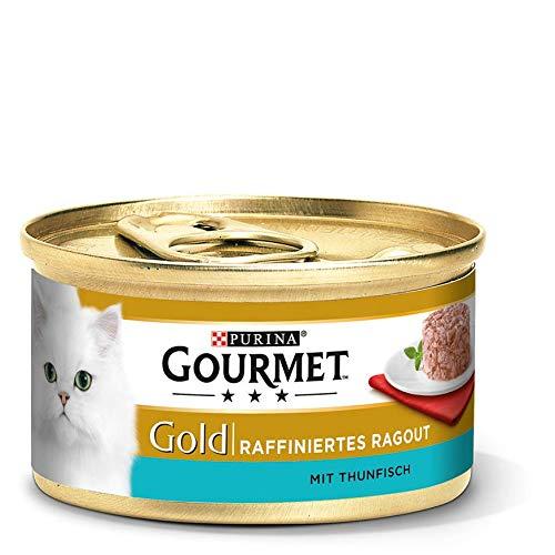 Purina GOURMET Gold Raffiniertes Ragout, köstliches Katzennassfutter, fein geschnetzelte Stückchen, Katzenfutter nass, mit Thunfisch, 12er Pack (12 x 85 g Dose)