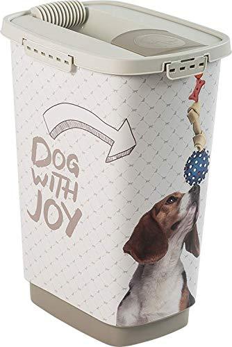Rotho Cody Tierfutterbehälter 25 l, weiss mit Hundemotiv, 25 Liter (33 x25 x46,3 cm)