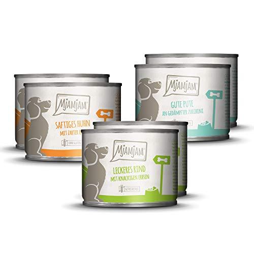 MjAMjAM – Premium Nassfutter für Hunde – Mixpaket I – Huhn & Ente, Rind, Pute, 6 Stück, 6er Pack (6 x 200 g), getreidefrei mit extra viel Fleisch