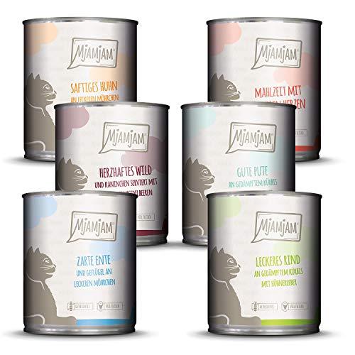 MjAMjAM – Premium Nassfutter für Katzen – Mixpaket III – Wild & Kaninchen, Pute, Ente & Geflügel, Herzen, Huhn, Rind, 6er Pack (6 x 800 g), getreidefrei mit extra viel Fleisch