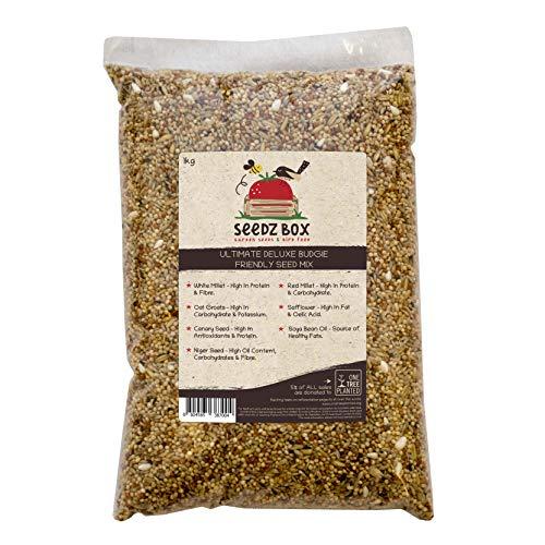 Ultimative Luxus Wellensittich Wellensittichfutter Samen & Nussmischung Vogelfutter, 1 kg Beutel, Seedz Budgerigar Budgie Food