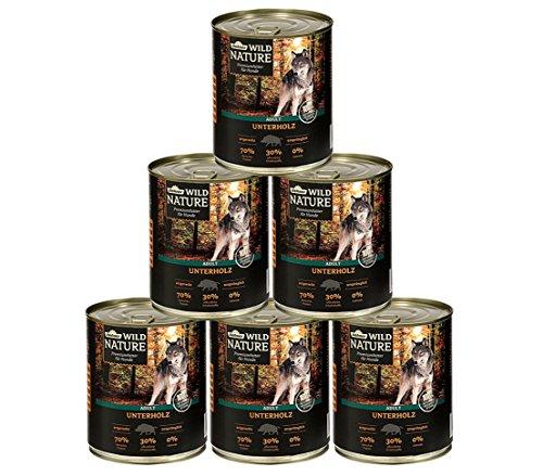 Dehner Wild Nature Hundefutter Adult, Unterholz, Wildschwein, 6 x 400 g (2.4 kg)