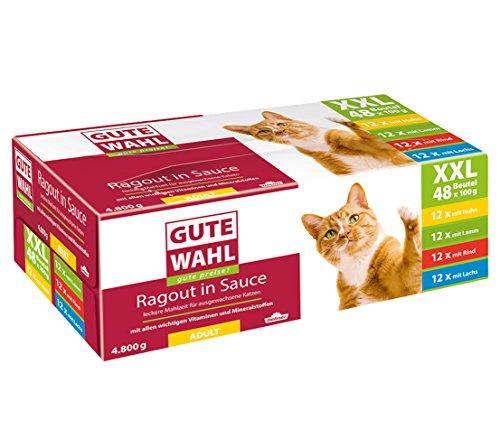 Dehner Gute Wahl Katzenfutter Adult, Multipack XXL, je 12 x Huhn, Lamm, Rind & Lachs, im Beutel, 48 x 100 g (4.8 kg)